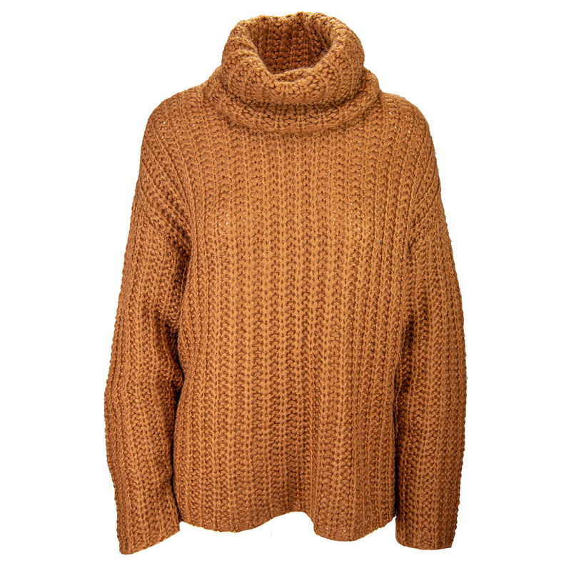 RD Style Chunky Turtleneck Sweater in Rust Color