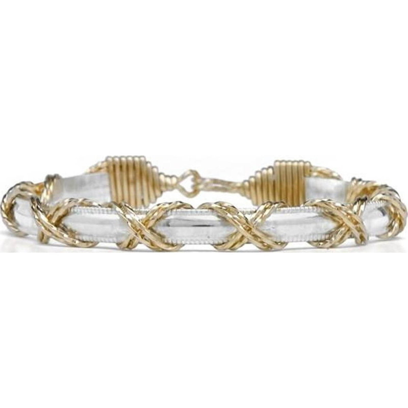 Ronaldo Dome Bar X Pattern Silver and Gold Bracelet