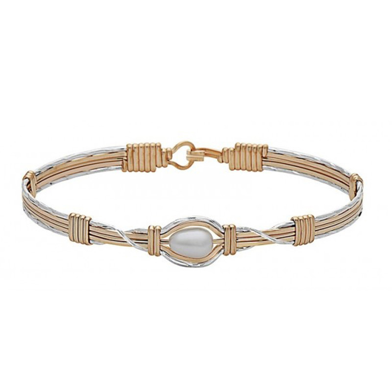 Ronaldo Hold Me Bracelet - Silver & Gold with Pearl
