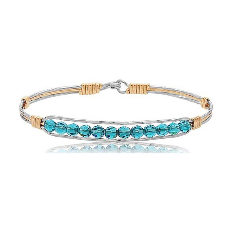 Ronaldo Inspire Silver & Gold Bracelet w/Teal Crystals