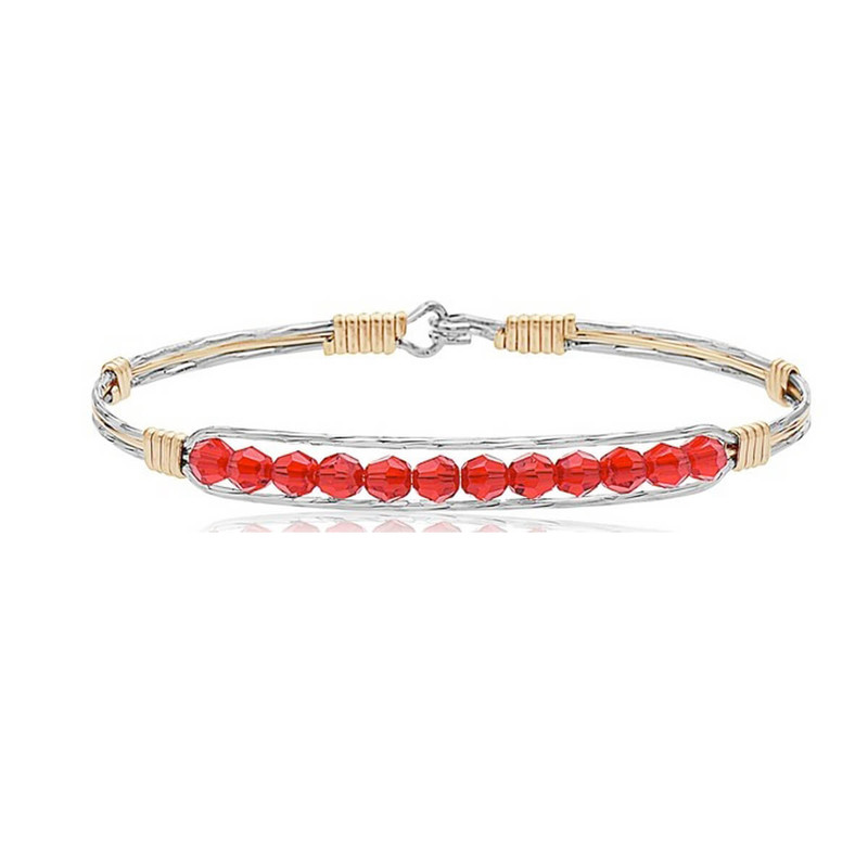 Ronaldo Courage Silver & Gold Bracelet w/Red Crystals