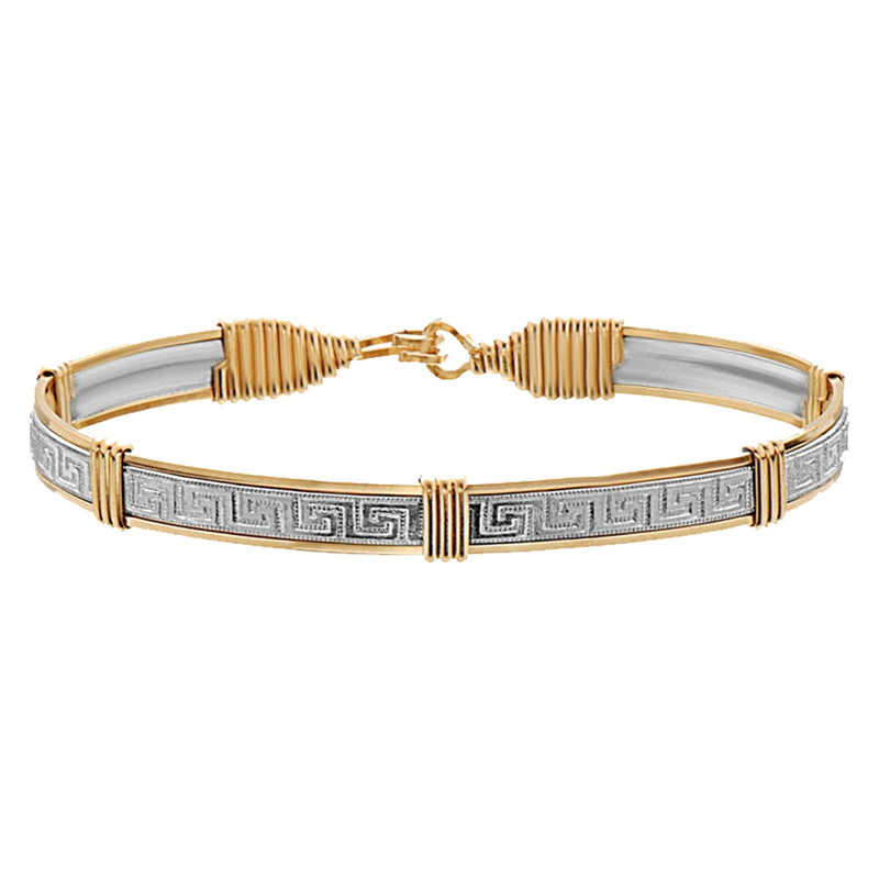 Ronaldo Silver and Gold Small Greek Key Bracelet