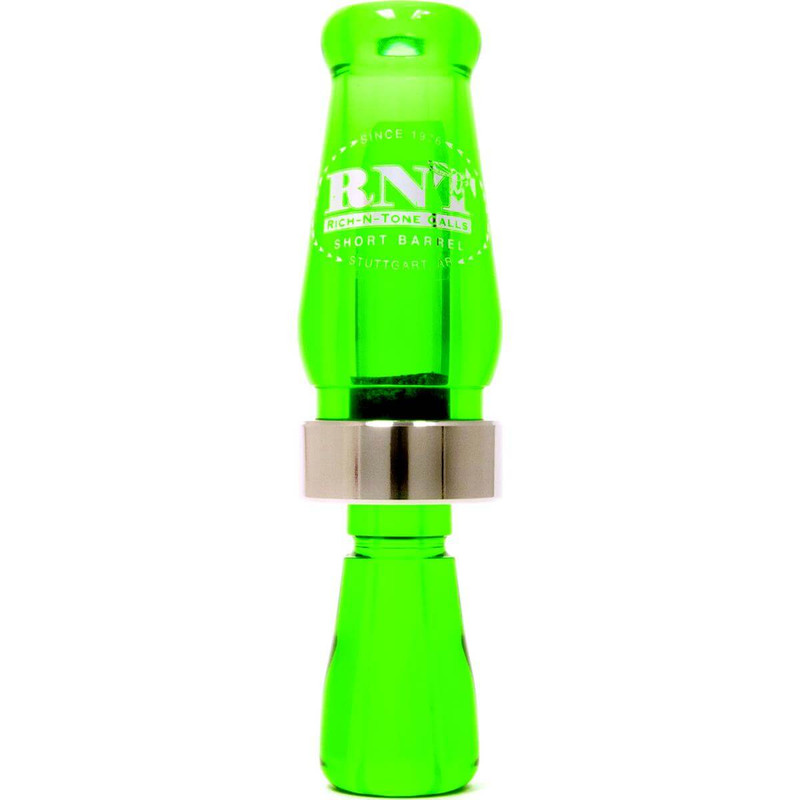 RNT Short Barrel Single Reed Duck Call in Kelly Green Color