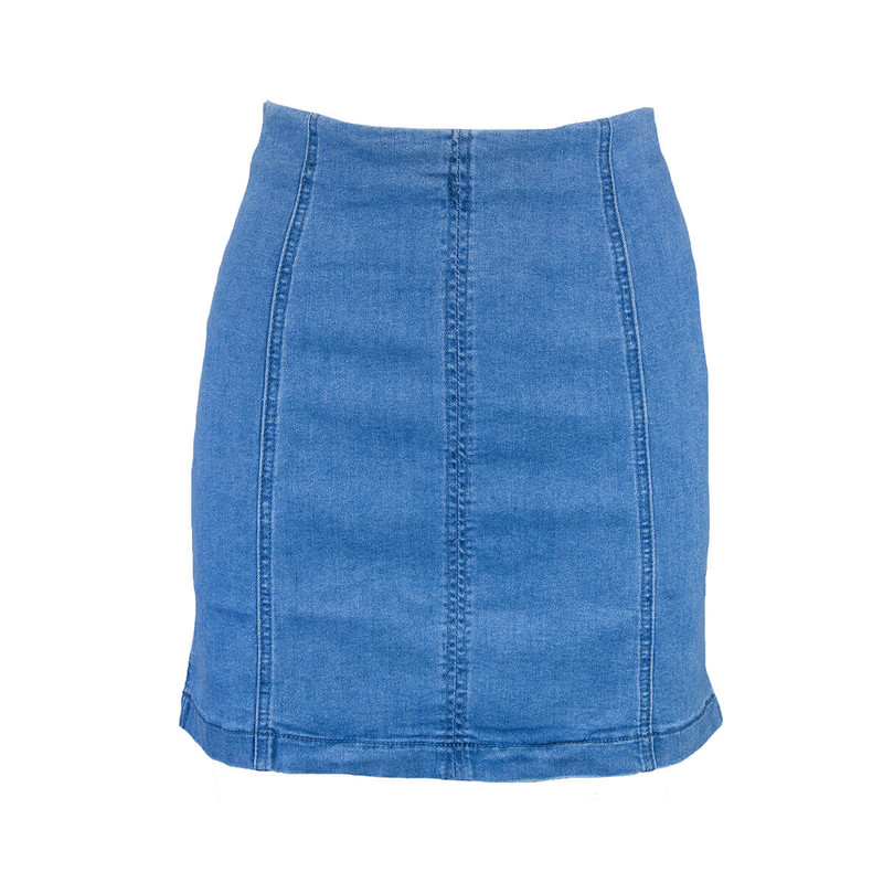 Sadie & Sage Denim Mini Skirt in Medium Wash Color
