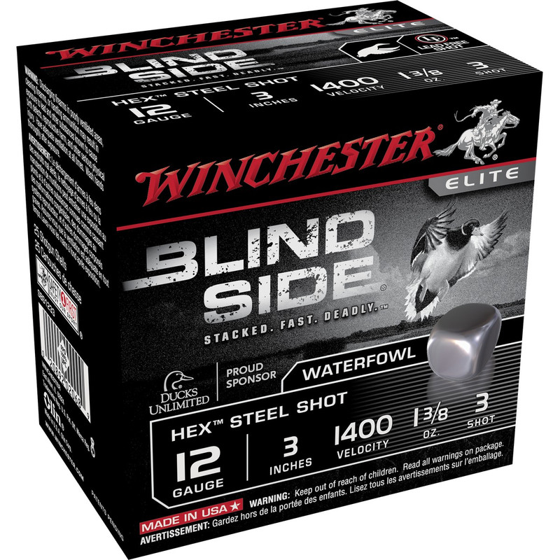 "Winchester SBS123 Blind Side 12 Ga 3"" 1-3/8 Oz - Case in Shot Size 3 Ammo Size"