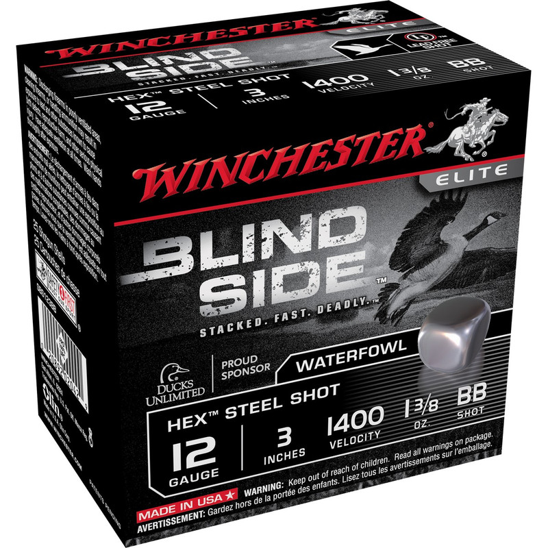 "Winchester SBS123 Blind Side 12 Ga 3"" 1-3/8 Oz - Case in Shot Size BB Ammo Size"