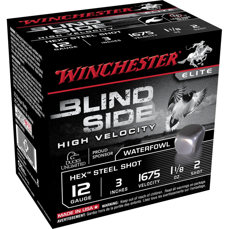 "Winchester SBS123HV Blind Side 12 Ga 3"" 1-1/8 Oz - Case in Shot Size 2 Ammo Size"