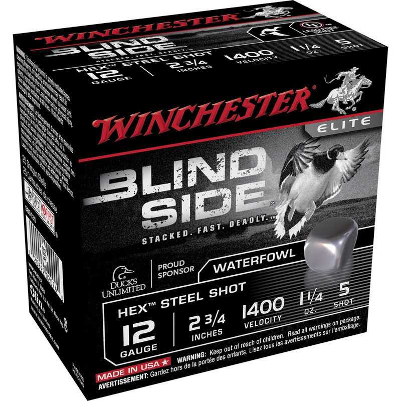 "Winchester SBS12 Blind Side 12 Ga 2 3/4"" 1-1/4 Oz - Case in Shot Size 5 Ammo Size"
