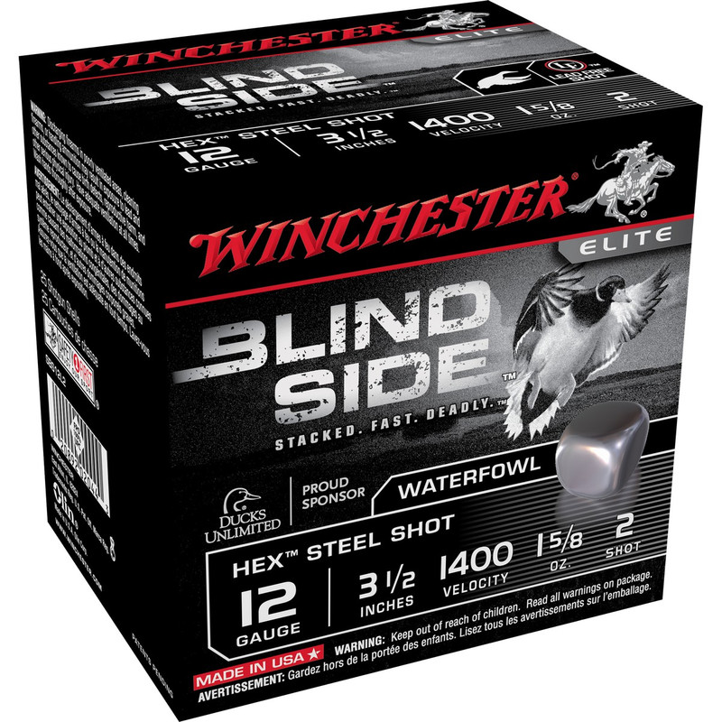 "Winchester SBS12L Blind Side 12 Ga 3 1/2"" 1-5/8 Oz -Case in Shot Size 2 Ammo Size"