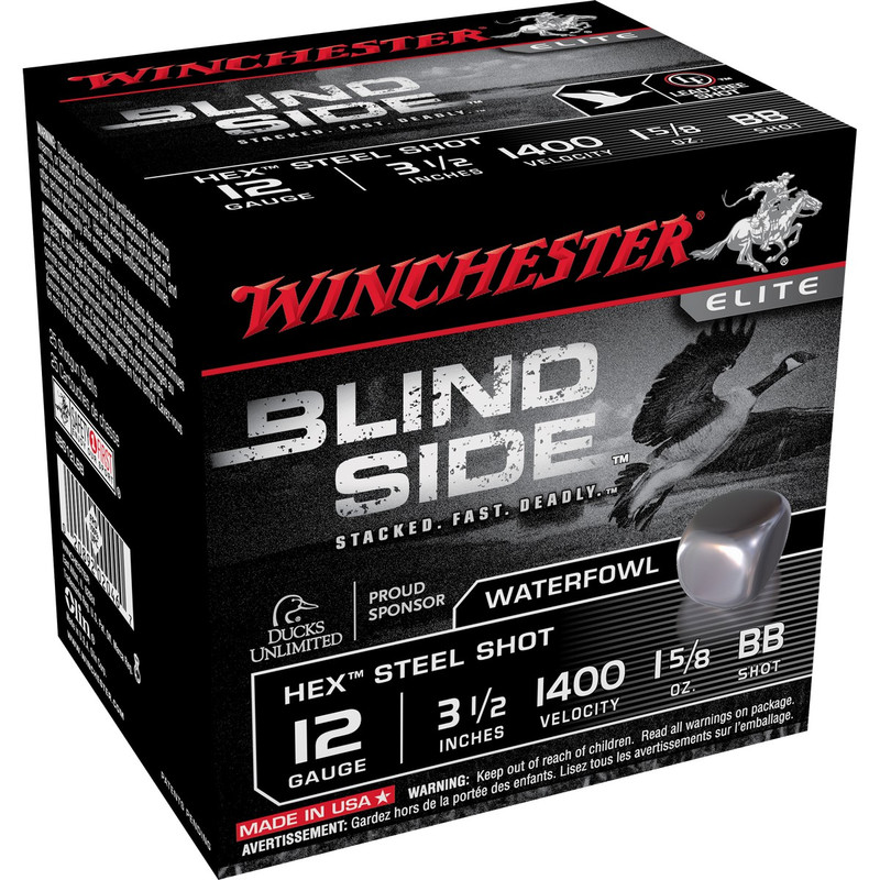"Winchester SBS12L Blind Side 12 Ga 3 1/2"" 1-5/8 Oz -Case in Shot Size BB Ammo Size"