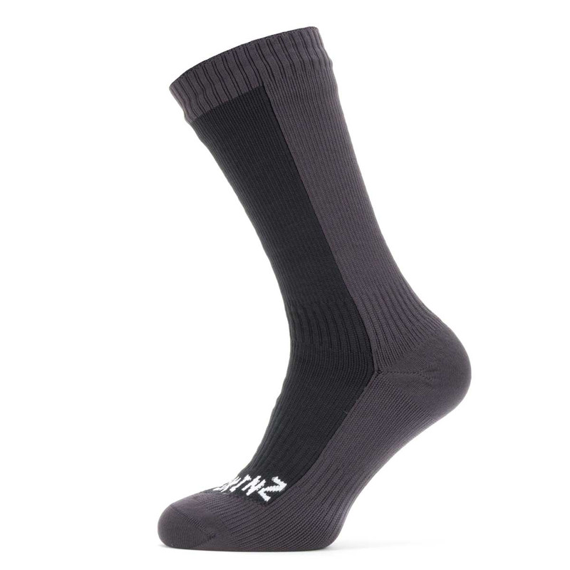 Sealskinz Waterproof Cold Weather Mid Length Sock in Black Gray Color