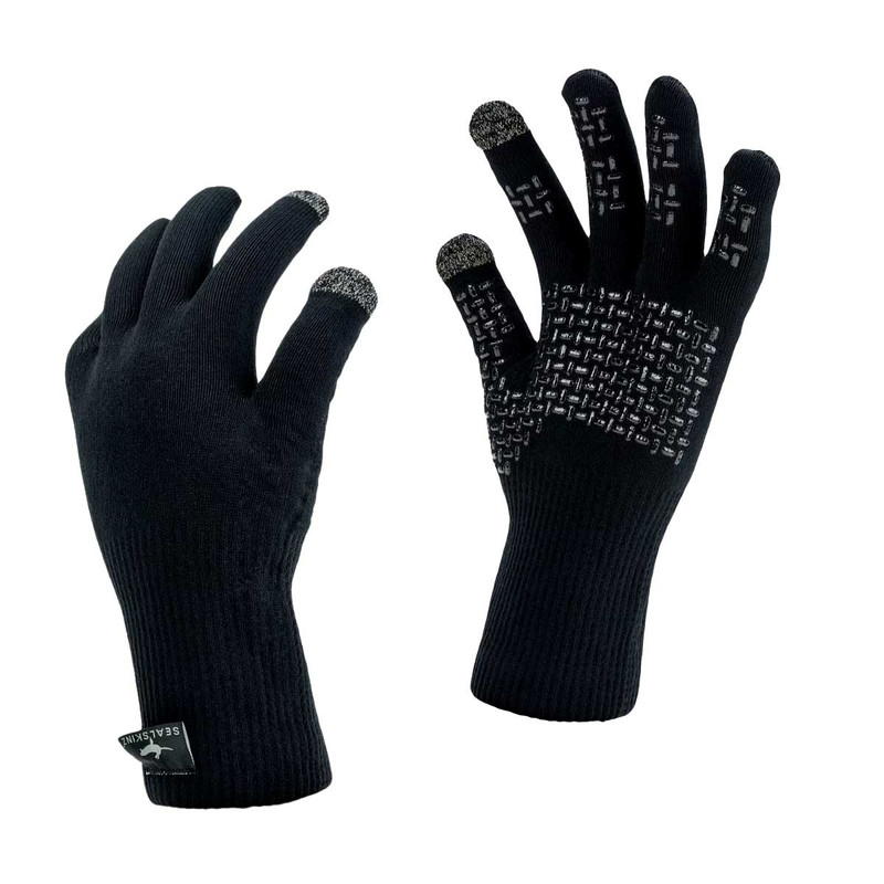 Sealskinz Waterproof All Weather Ultra Grip Knitted Gloves in Black Color