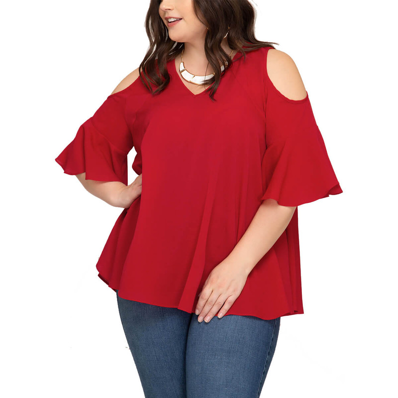 Plus Size Cold Shoulder Woven Top in Red Color