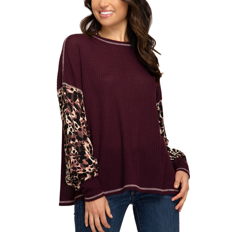 She & Sky Long Sleeve Thermal Top w/Leopard Sleeves in Chestnut Color