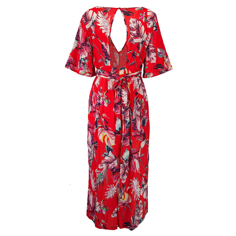 Floral Fiesta Jumpsuit in Tomato Color