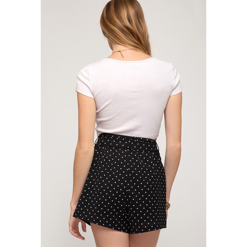 She & Sky Polka Dot Shorts w/Waist Sash And Pockets in Black Color
