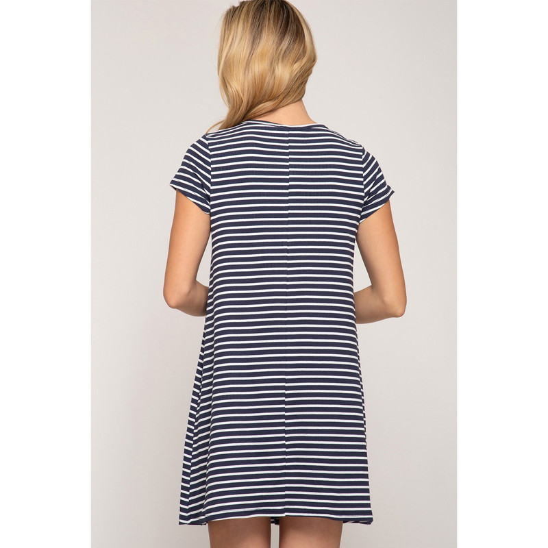 She & Sky Short Sleeve Striped Dress in Navy Color