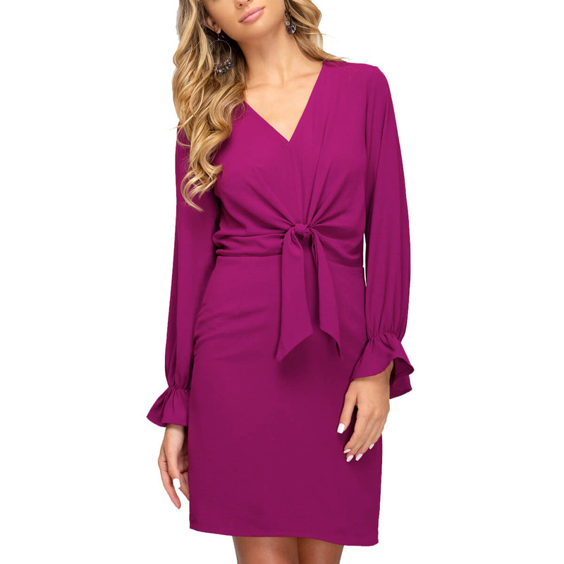 She & Sky Long Sleeve Woven Dress With Tie in Magenta Color