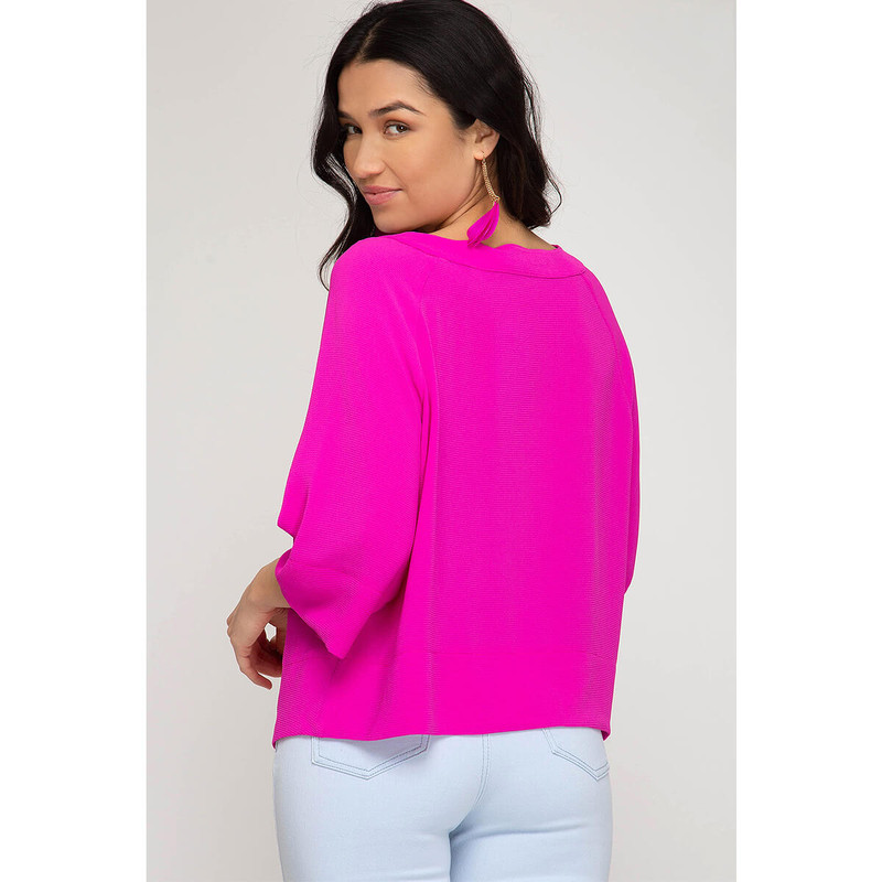 She & Sky Flowy Sleeve V-Neck Top in Magenta