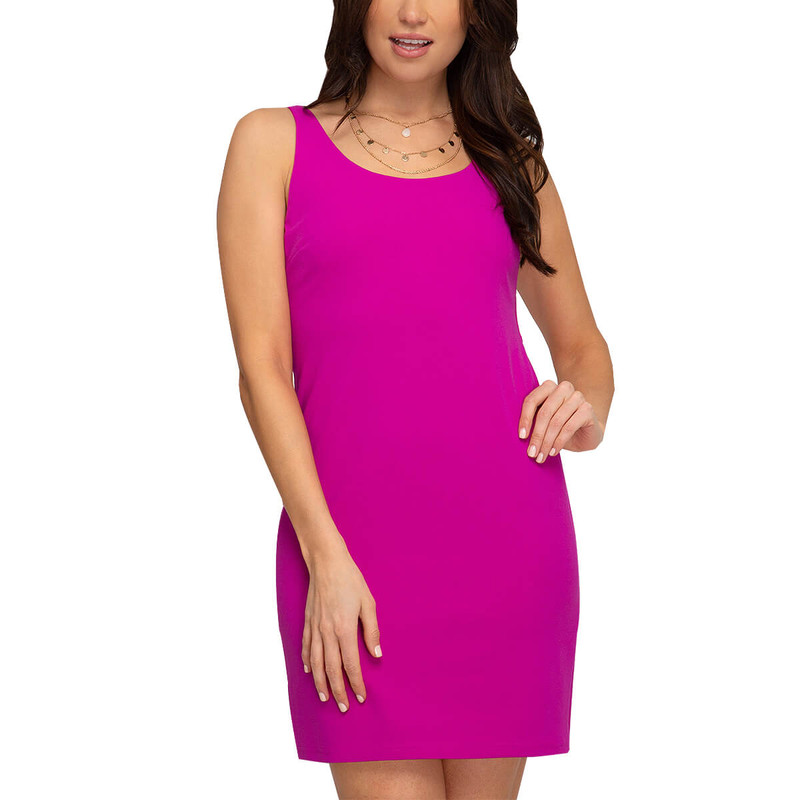 She & Sky Heavy Knit Sleeveless Bodycon Dress in Magenta Pink Color