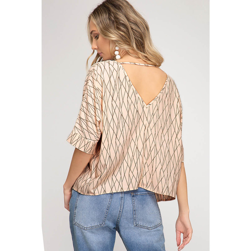 She & Sky Drop Shoulder Geo Print Batwing Top in Blush Color