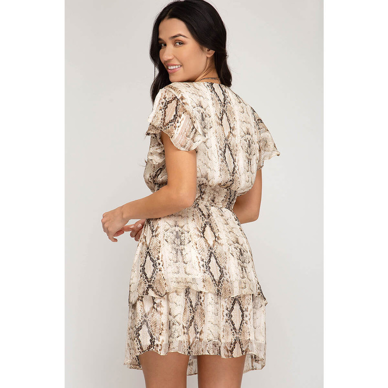 She & Sky Snake Print Dress in Taupe Color