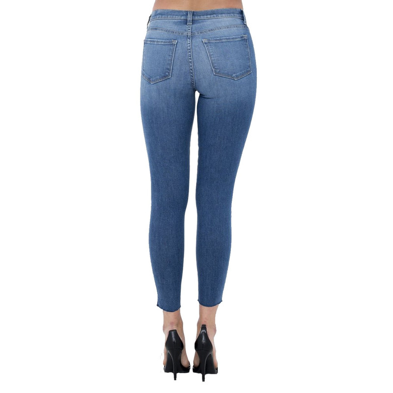 Sneak Peek Medium Rise Ankle Skinny in Medium Wash Color