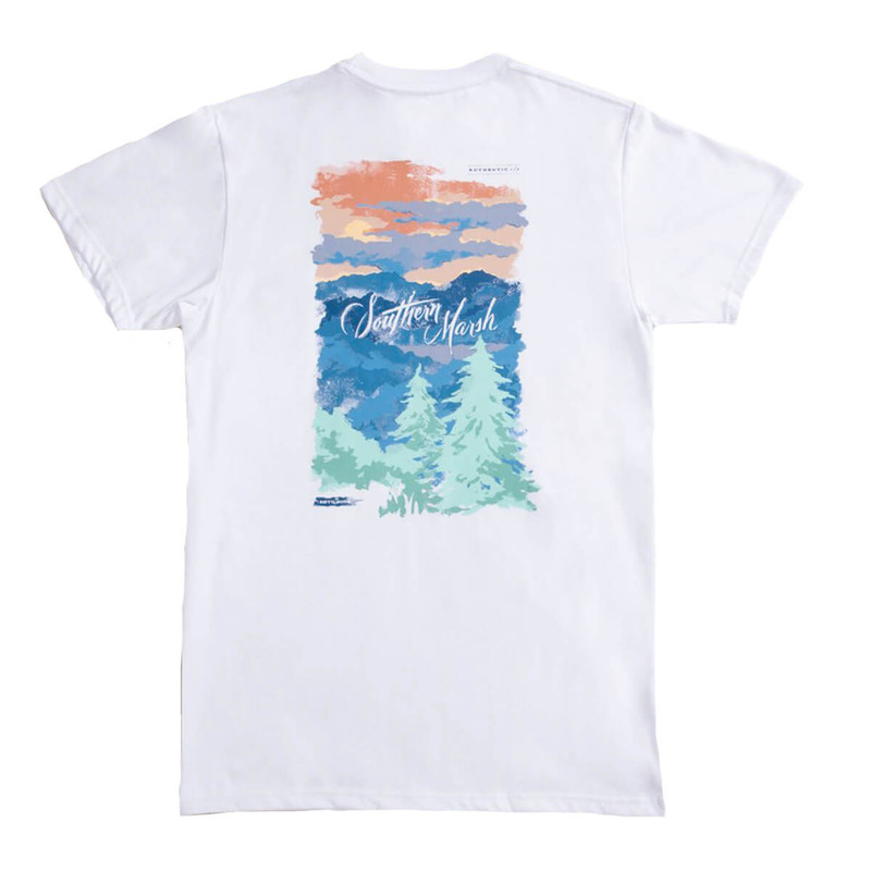 Southern Marsh Southern Horizons SS T-Shirt - Blue Ridge in White Color