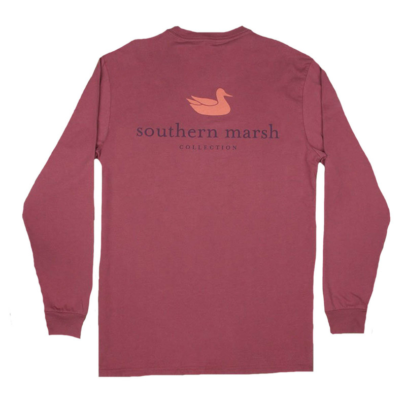 Southern Marsh Authentic Long Sleeve T-Shirt in Wine Color