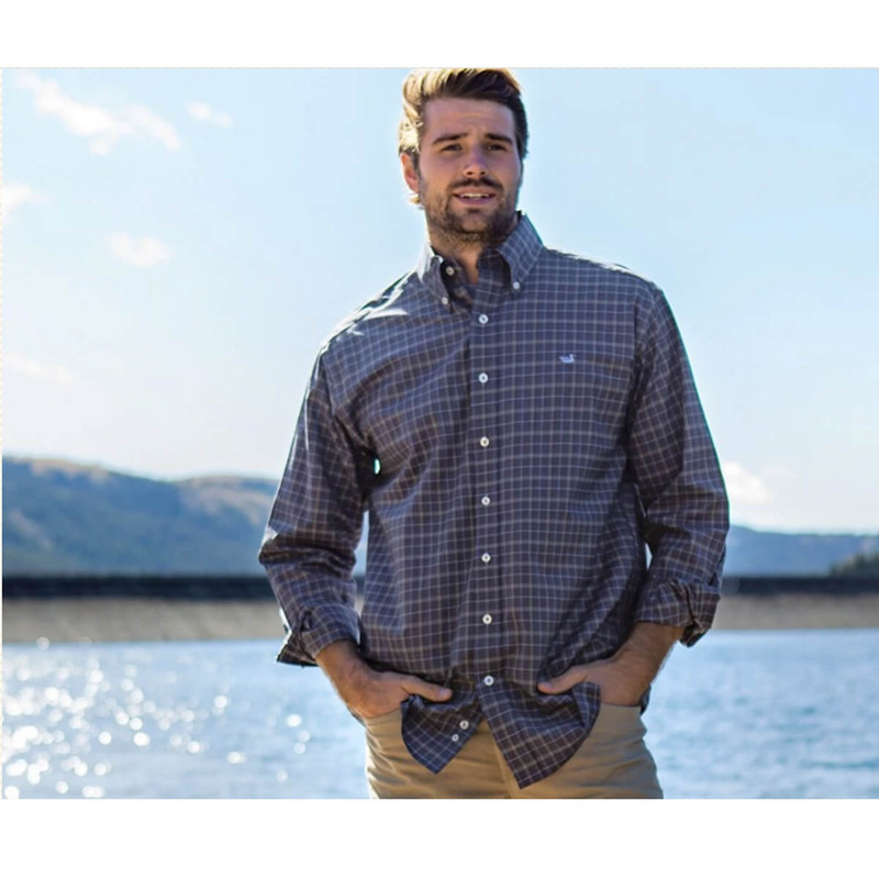 Southern Marsh Bastrop Performance Check Dress Shirt in Navy Light Blue Color
