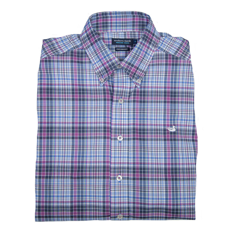 Southern Marsh Hays Performance Check Dress Shirt in Wine White Color