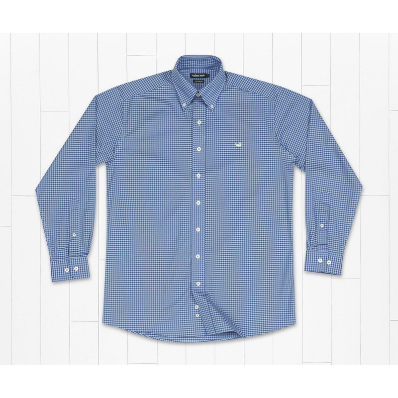 Southern Marsh Greene Performance Check Shirt in French Blue and Light Blue Color