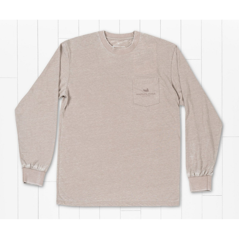 Southern Marsh Seawash Long Sleeve Classic Tee in Burnt Taupe Color