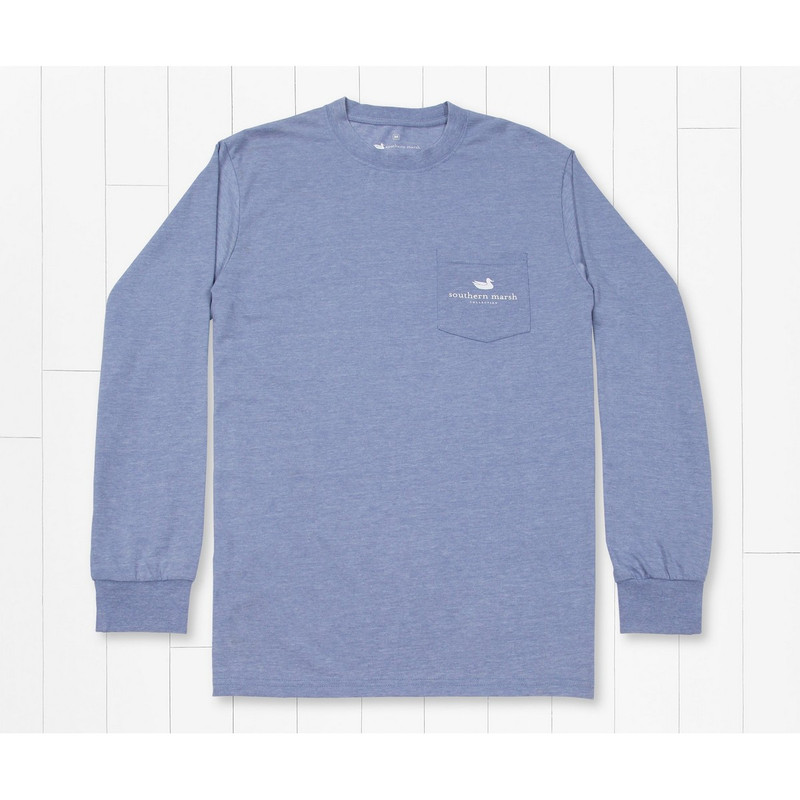 Southern Marsh Seawash Long Sleeve Duck Trio Tee in Washed Blue Color