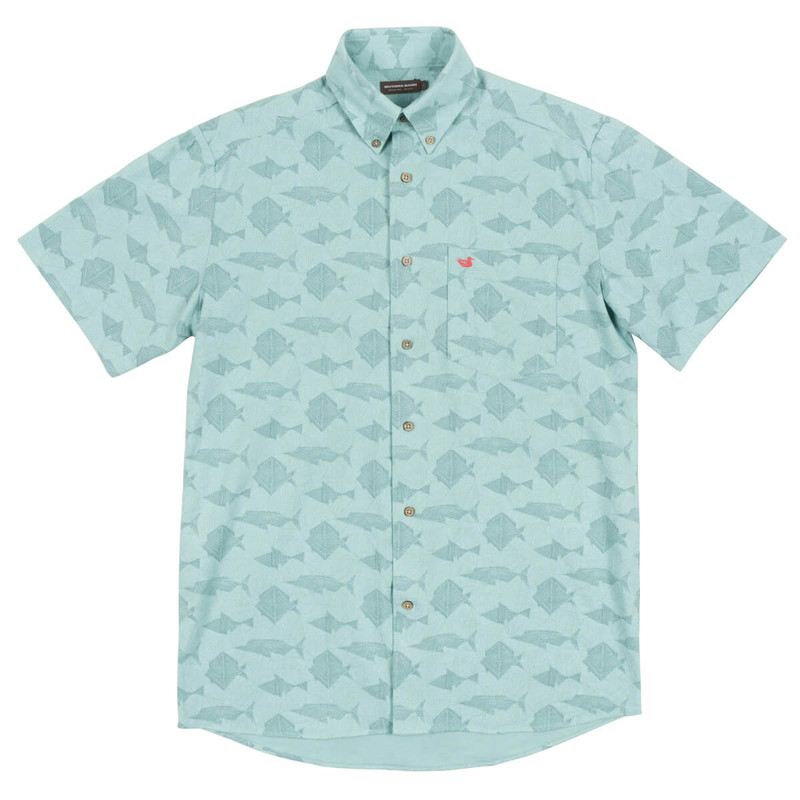 Southern Marsh Atoll Woven Shirt- Geometric in Antigua Blue Color