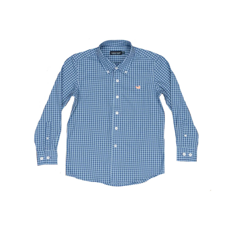 Southern Marsh Youth Memphis Gingham Dress Shirt in Royal Blue Color