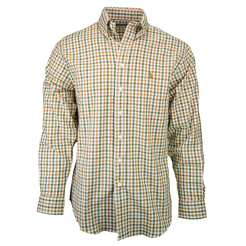 Southern Casanova Long Sleeve Button Down in Brass Check Color