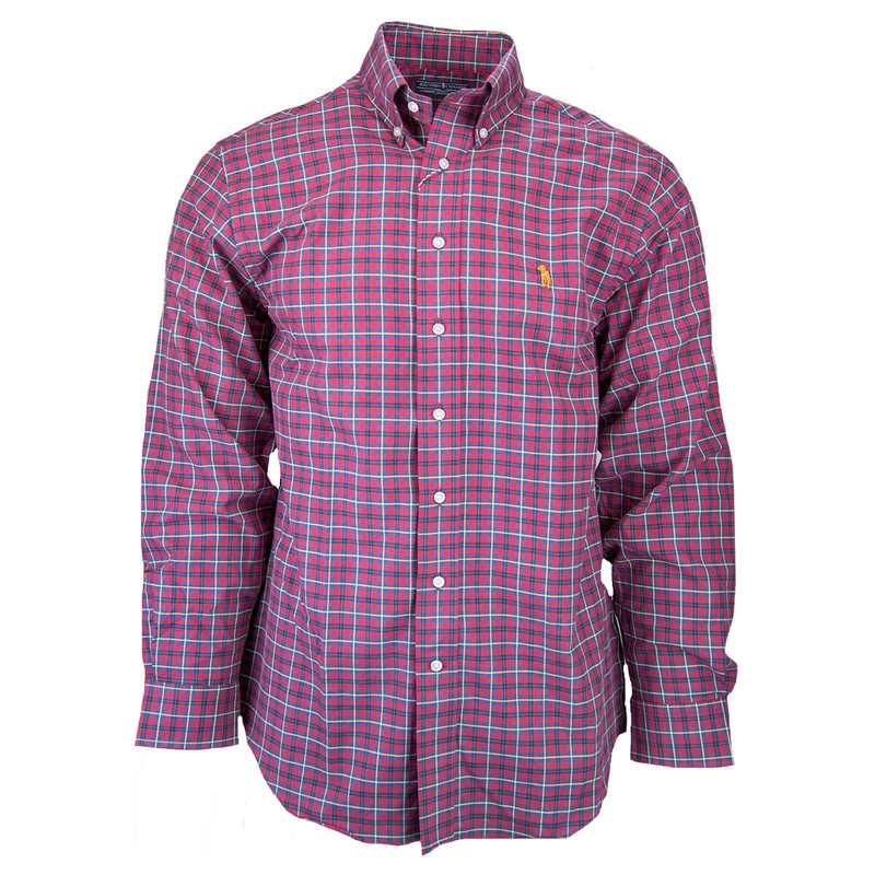 Southern Casanova Long Sleeve Button Down in Cherry Wood Plaid Color