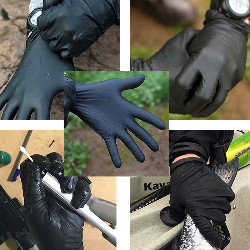 Shotmastr Disposable Long Cuff Black Nitrile Gloves in main