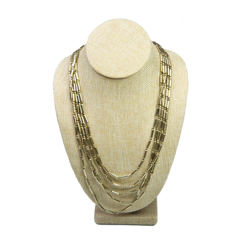 Splendid Iris Multi Strand Long Statement Necklace in Gold