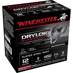 "Winchester SSH123 Drylok Super Steel HV 12 Ga 3"" 1-1/4 Oz - Case"