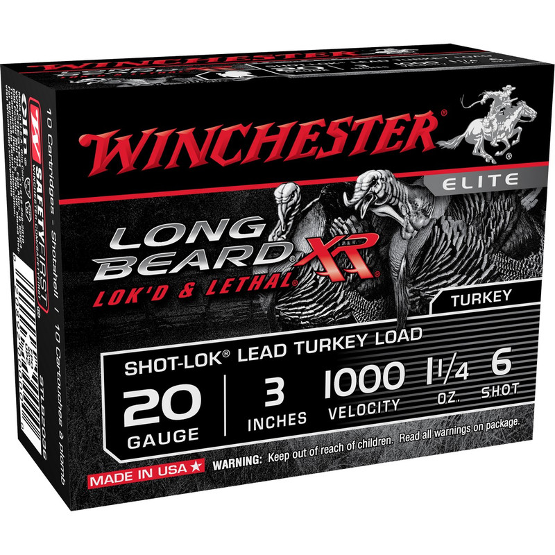 "Winchester STLB203 Long Beard 20 Ga 3"" 1-1/4 OZ - Box in Shot Size 6 Ammo Size"