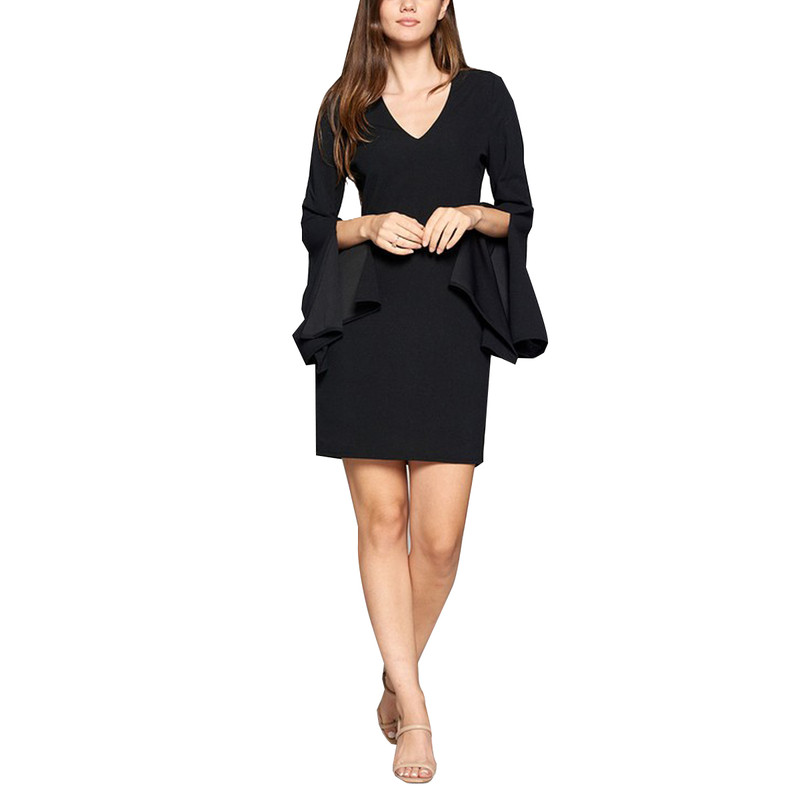 Strut & Bolt V-Neck Slit Sleeve Dress in Black Color