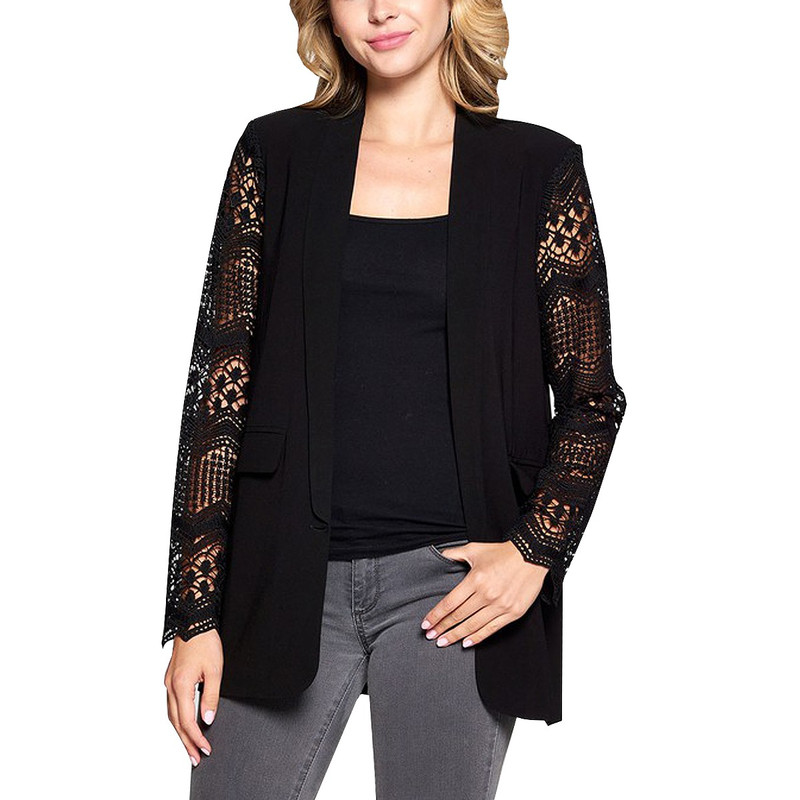 Strut & Bolt Boyfriend Jacket w/Lace Sleeves in Black Color