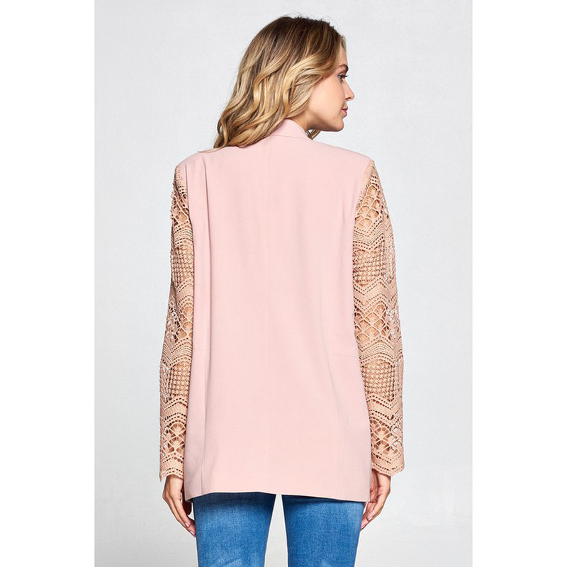 Strut & Bolt Boyfriend Jacket w/Lace Sleeves in Blush Pink Color