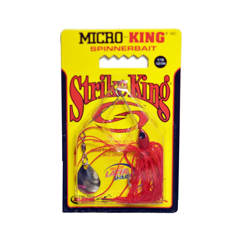 Strike King 1/16 oz Micro-King Spinner Bait in Red Head Red Skit Color