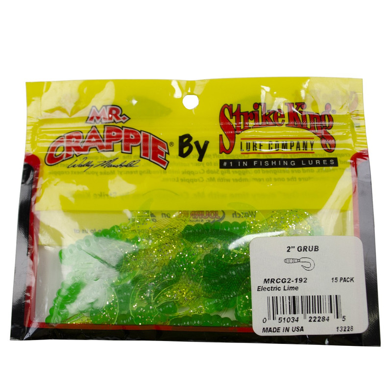 "Strike King Mr Crappie 2"" Grub in Electric Lime Color"