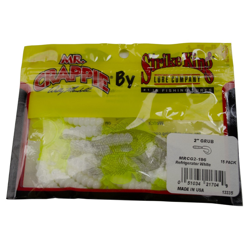 "Strike King Mr Crappie 2"" Grub in Refrigerator White"