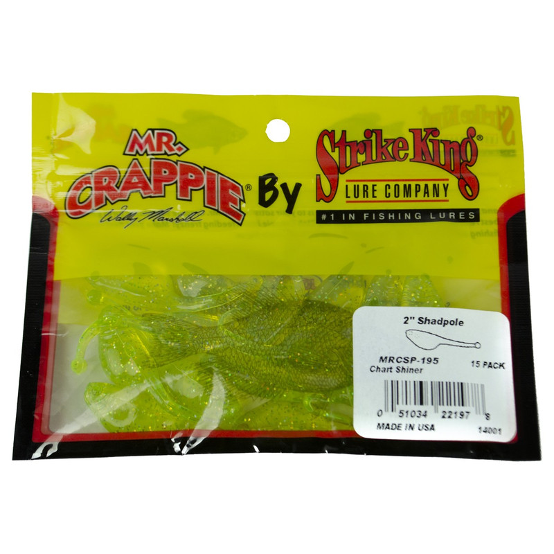 Strike King Mr. Crappie ShadPoles in Chartreuse Shiner Color