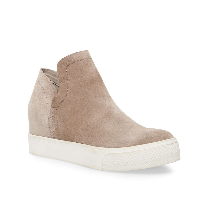 Steve Madden Wrangle Platform Wedge Sneakers in Taupe Suede Color